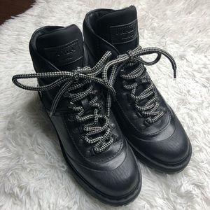 Prada Leather Nylon Hiking Combat Black Boots
